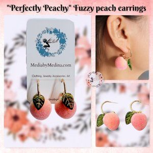 🆕Perfectly Peachy. Fuzzy Peach Charm Earrings